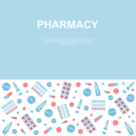 Pharmacy poster with flat icons. Square vector illustration for medical or healthcare presentation, document cover, and layout template design. Drugs and pills.  Medication Concept.