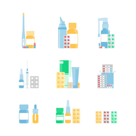 Set of various medical pills, bottles, throat sprays, nasal sprays, thermometer, and syringe. Set of medical and pill icons. Pharmacy purchases. Drugstore Concept. Healthcare objects. Vector illustration in a flat style. Stock Illustratie