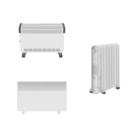 Set of electric convectors heaters, oil heater on a white background. Heating system for home and office. Realistic vector image.