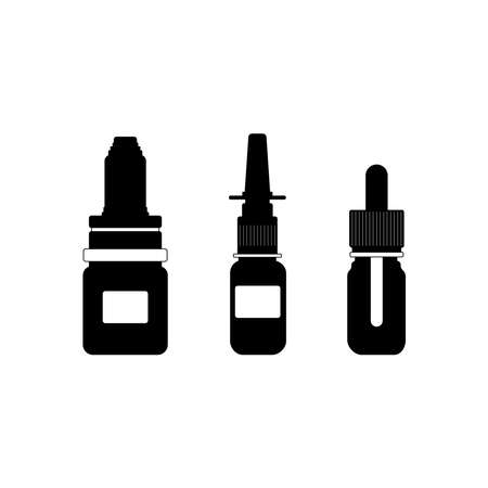 Medical Spray Icons. A set of sprays and a drop for colds, flu, cough medications: sprays and drops in the nose, throat sprays on a white background. Vector illustration in a flat style. Illusztráció