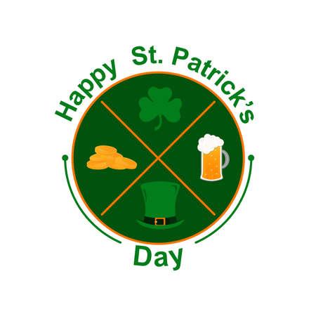 Vector emblem for St. Patricks Day with elements: green cylinder, clover leaf, gold coins, beer mug, congratulatory inscription. Round emblem on a white background.