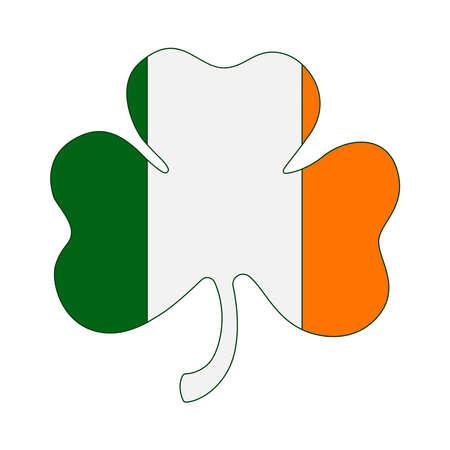 St.Patrick s Day. Clover leaf emblem .Vector illustration.