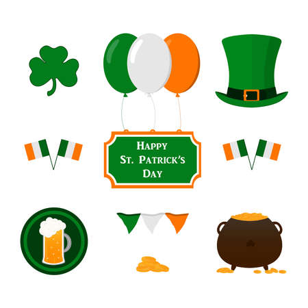 St.Patrick 's Day. Set of elements for St. Patrick's Day design: green top hat, clover, balloons, national flags, a pot of gold coins, a beer mug, a congratulatory inscription. Vector illustration.