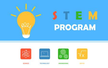 STEM program banner. Science, technology, engineering, mathematics. Education concept. Flat vector.