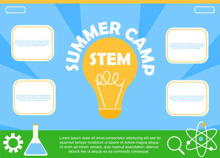 STEM educational kids summer camp. Colorful poster. Science, technology, engineering, mathematics. Education Concept. Flat Vector.