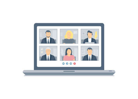 Stay and work from home. Isolated on white background laptop screen with a group of people having a virtual online meeting. Webinars, video conferencing, remote work. Coronavirus, quarantine isolation. Flat vector.