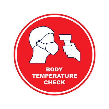 Round sign or sticker with the inscription Please body temperature check. Sticker for floor and walls. Protection from Covid-19. Flat vector. Vector Illustratie