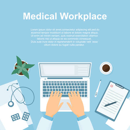 The concept of a medical workplace. Horizontal banner with place for text in a flat style. Workplace of a doctor, hands with a computer and medical attributes. View from above. Vector.