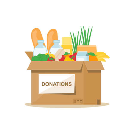 Charity box with food on a white background. Delivery to the door. Help people. Contactless delivery. Vector illustration in a flat style. Vectores