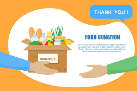 Volunteers are holding a donation box of food. Design for a charitable and volunteer organization. Help the poor and refugees. Delivery to the door. Help people. Contactless delivery. Vector illustration in a flat style.