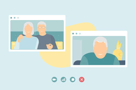 Stay at home. Online communication of old people. Do not be lonely. Coronavirus pandemic online communication of friends, quarantine isolation. Flat vector. Illustration