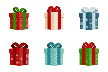 Set of colorful Christmas gift boxes. Christmas elements. Holiday boxes with bows. Vector illustration.