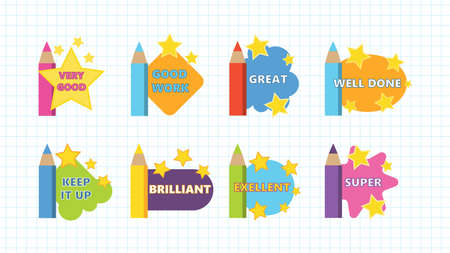 Set of reward stickers for teachers and children. Cute cartoon school award signs with pencil and stars. A sign of encouragement for students. Vector illustration.
