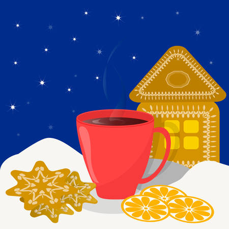 Red cup with hot drink and gingerbread house in winter Ilustração