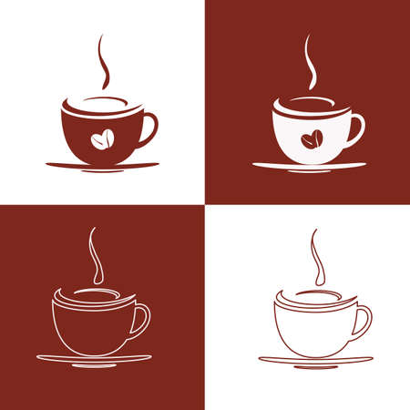 Four scenes of the cup of hot coffee.