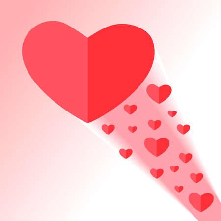 Red heart. Beam with small hearts. Ilustração