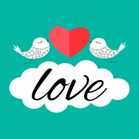 Two white birds on a blue background. Red heart. White cloud with text love.