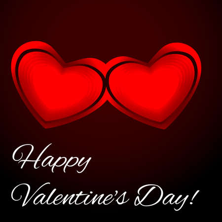 Two red hearts on a dark background. Valentines day card