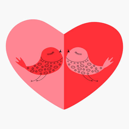 The heart consists of two shades of red and a pair of birds. Symbolizes love and the feast of lovers.
