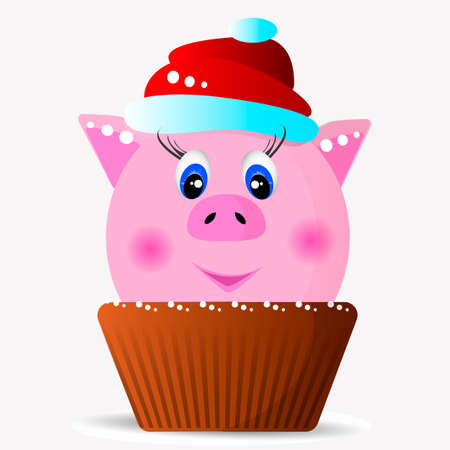 Pink pig in a red cap in a cupcake. Vector illustration