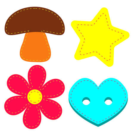 A colorful set of four items: a mushroom, a star, a flower and a button.