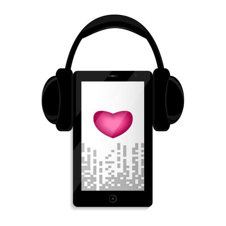 Black smartphone. Black big headphones. In the center of the screen is a heart.