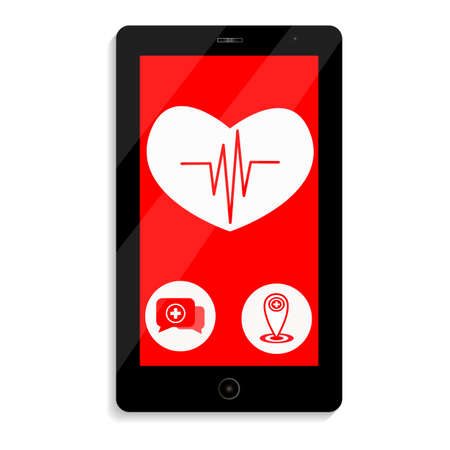 Black phone on a white background. White heart on a red background with a pulse. Two buttons for information and help. Ilustração