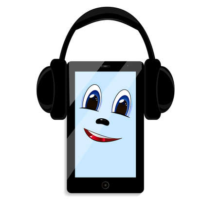 Black phone and headphones on a white background. On the screen a cartoon face.
