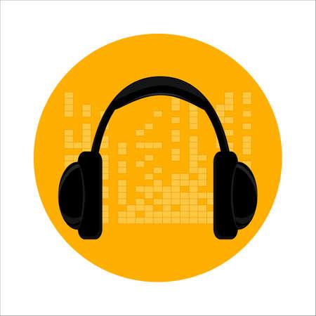 Black headphones on a yellow background.