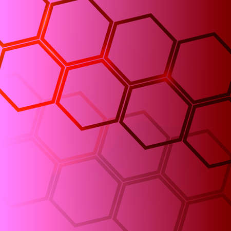 Dark pink background with bright hexagons, which is suitable for business cards or flerov. Vector illustration Stock Illustratie