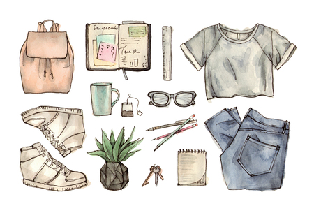 Hand drawing watercolor fashion illustration of clothing, accessories and stationery