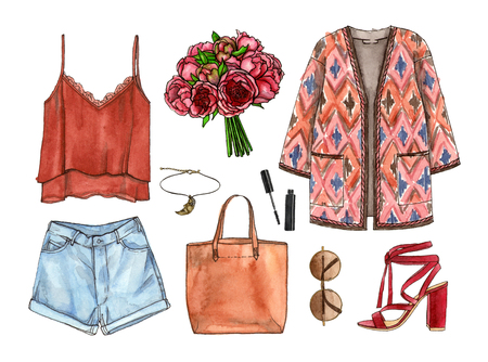 watercolor hand painting sketch fashion outfit, a set of clothes and accessories. bohol style. isolated elements