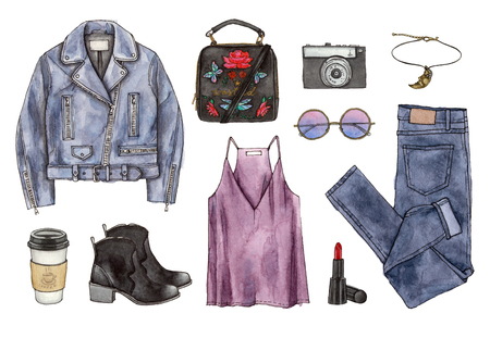 watercolor hand painting sketch fashion outfit, a set of clothes and accessories. casual style. isolated elements