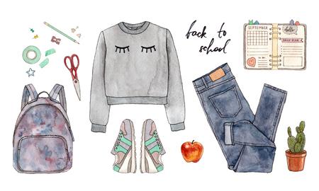 학교로 돌아가다. 손으로 그린 수채화 패션 의류, 액세서리 및 편지지의 그림. 스톡 콘텐츠