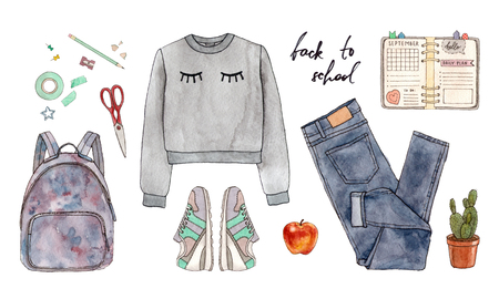 Back to school. Hand painted watercolor fashion illustration of clothing, accessories and stationery.
