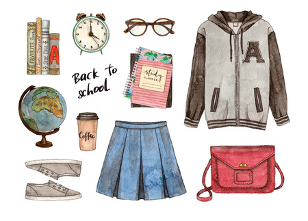 Back to school. Hand painted watercolor fashion illustration of clothes, accessories and stationery Stock Photo