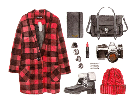 winter red coat. watercolor hand drawn sketch fashion outfit, a set of clothes and accessories. casual style. isolated elements