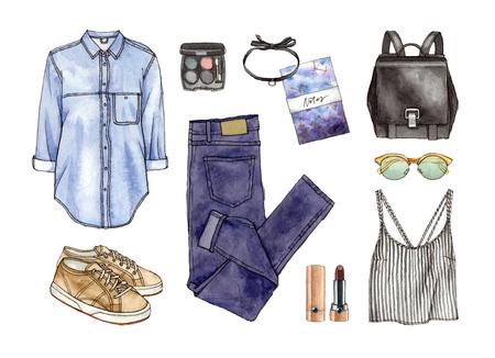 수채화 손으로 스케치 패션 복장, 옷 및 액세서리 세트. 캐주얼 스타일. 고립 된 요소들
