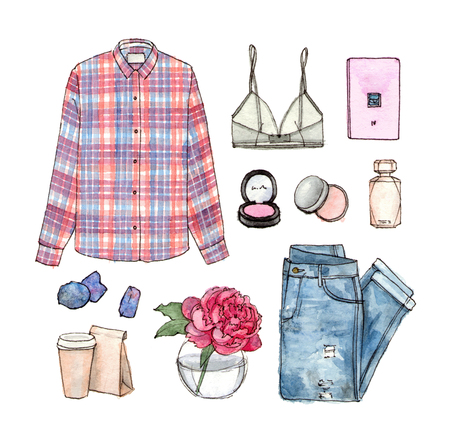 watercolor sketch fashion outfit, a set of clothes and accessories. casual style. isolated elements 版權商用圖片