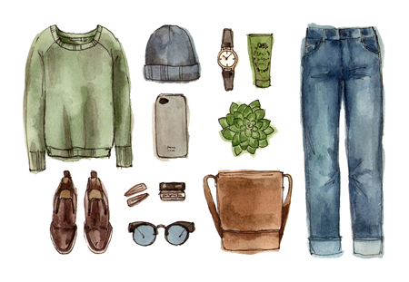 sketch autumn outfit. hand drawing watercolor fashion illustration. set of isolated elements.
