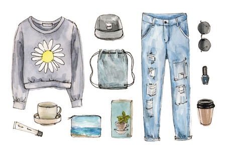 sketch casual outfit. hand drawing watercolor fashion illustration. set of isolated elements. 版權商用圖片