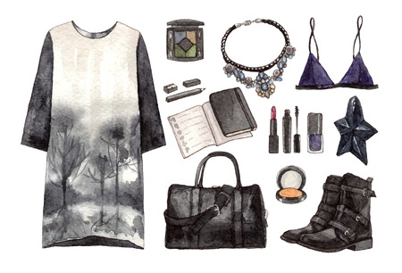 watercolor fashion set black outfit. hand painting sketch, isolated elements