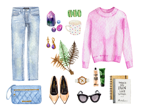 watercolor sketch fashion outfit, a set of clothes and accessories. casual style.