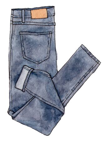 watercolor sketch fashion denim. hand painting isolated element