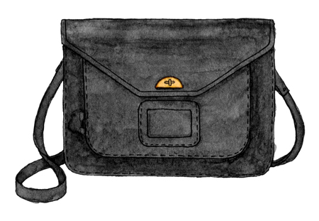 watercolor fashion black bag. hand drawing sketch isolated element. back to school