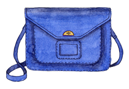 watercolor fashion blue bag. hand drawing sketch isolated element. back to school 版權商用圖片