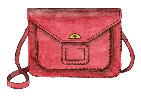 watercolor fashion red bag. hand drawing sketch isolated element. back to school
