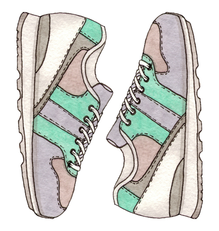 watercolor fashion sketch sneakers. isolated hand painted illustration. 版權商用圖片