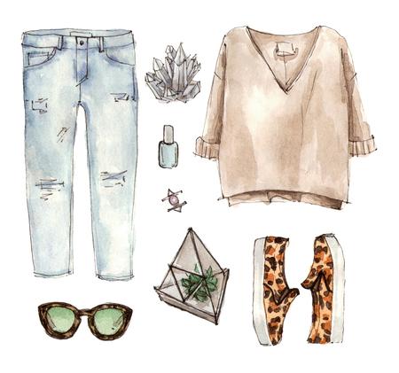 수채화 스케치 패션 복장, 옷 세트 및 액세서리. 캐주얼 스타일. 고립 된 요소들