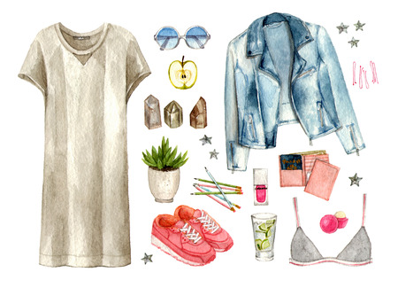 watercolor hand painting sketch fashion outfit, a set of clothes and accessories. casual style. isolated elements 版權商用圖片 - 89673571